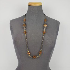 Silver & Brown Beaded Chain Necklace